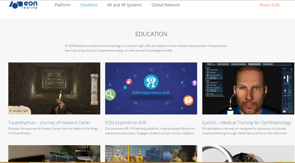 Eon Reality - Best Virtual Reality Websites