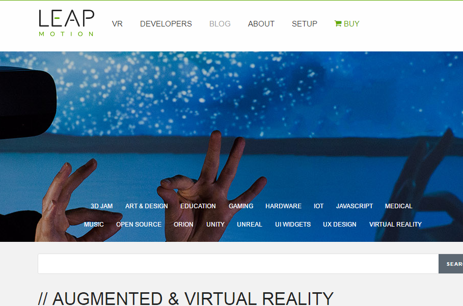 Leap Motion - Best Virtual Reality Websites