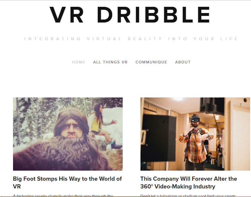 VR Dribble - Best Virtual Reality Websites