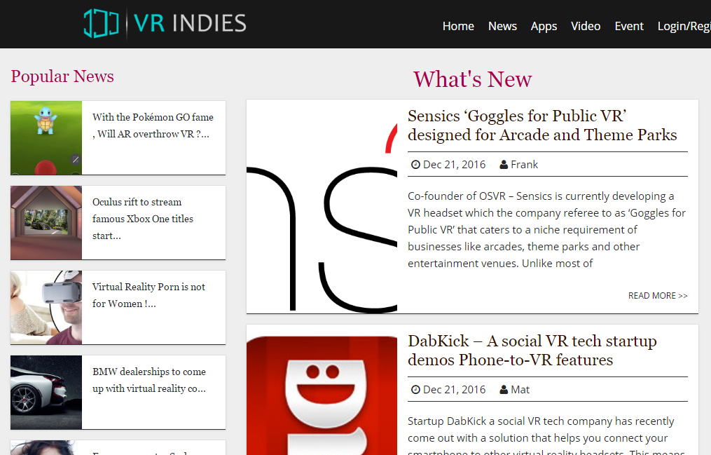 VR Indies - Best Virtual Reality Websites