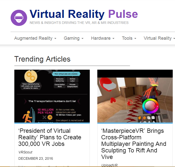 Virtual Reality Pulse - Best Virtual Reality Websites